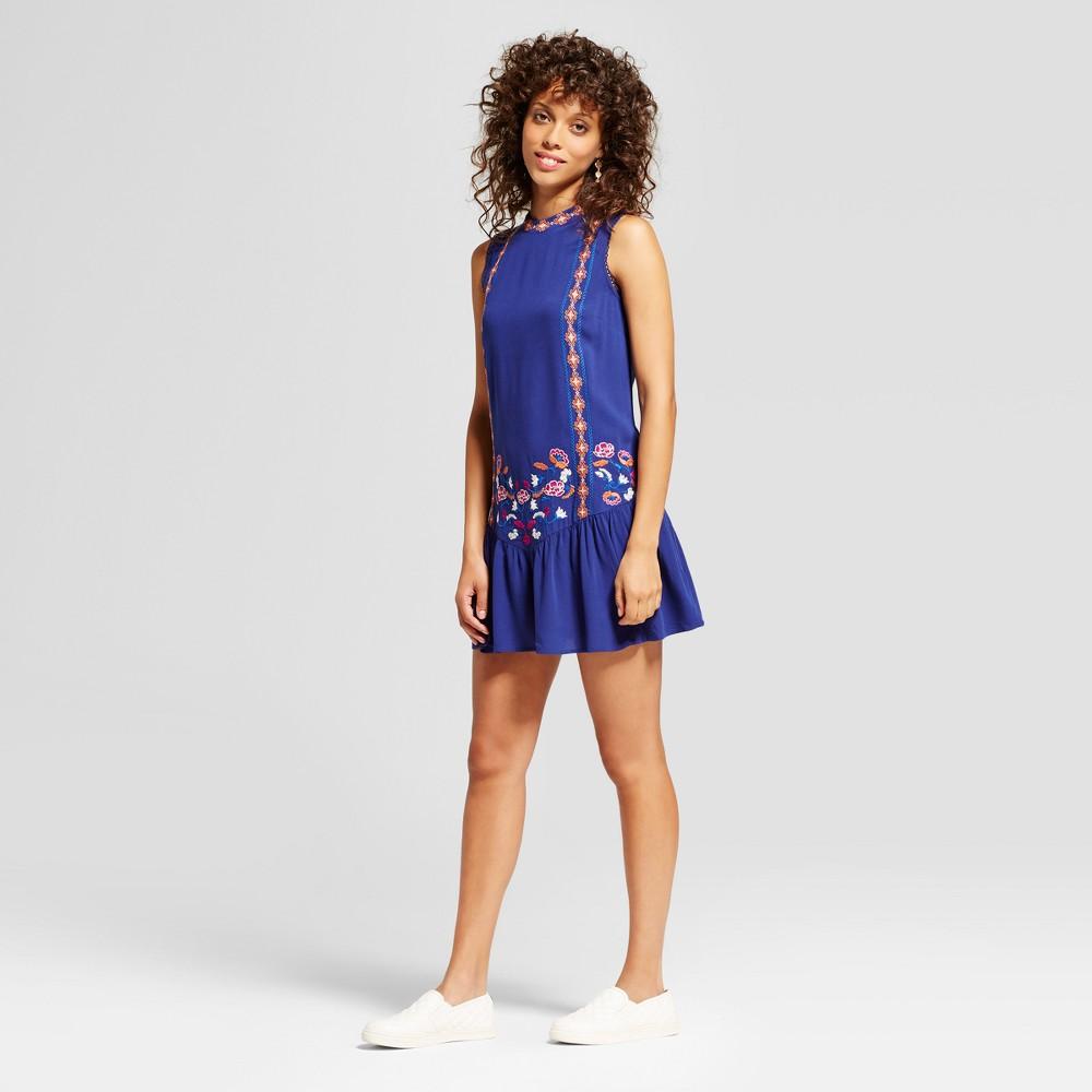 Womens Embroidered Drop-Waist Dress - Xhilaration (Juniors) Blue XS