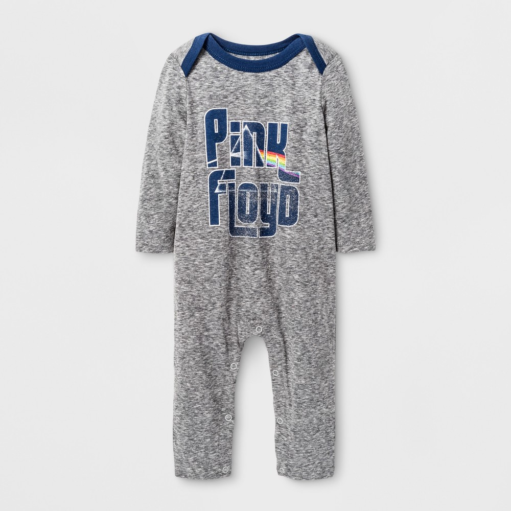 Baby Boys Long Sleeve Pink Floyd Coverall - Gray 0-3 Months, Size: 0-3 M
