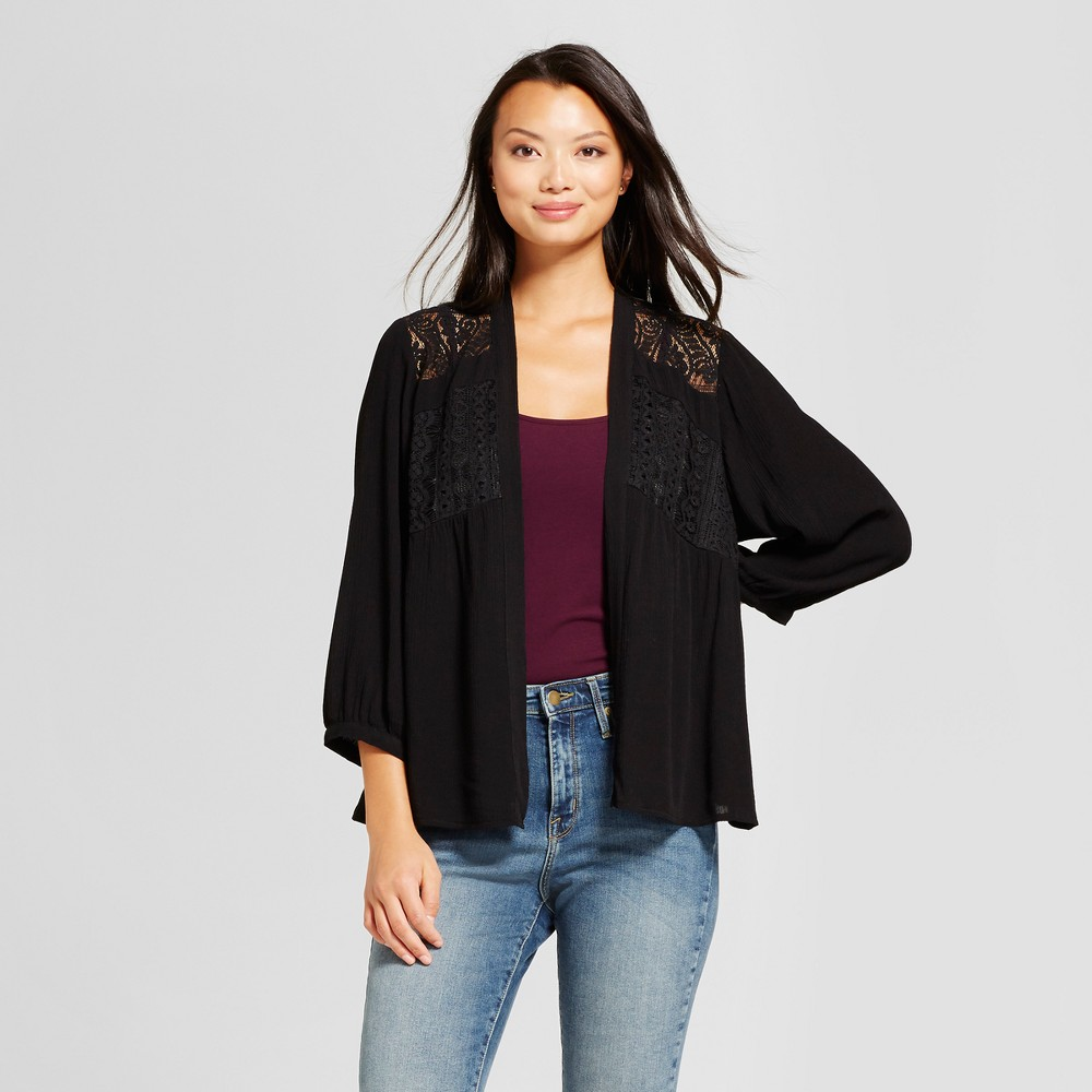 Womens Lace Pieced Kimono Jacket - Knox Rose Black L