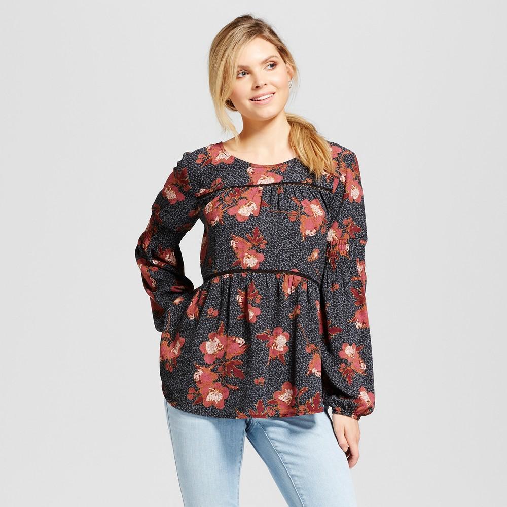 Womens Back Tassel Tie Top - Knox Rose Black Print XL, Multicolored