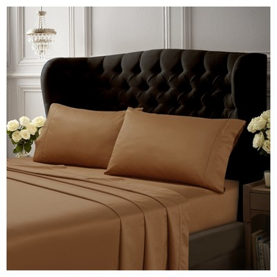 Egyptian Cotton Sateen Deep Pocket Solid Sheet Set (Queen)6pc Cafe 500 Thread Count - Tribeca Living®