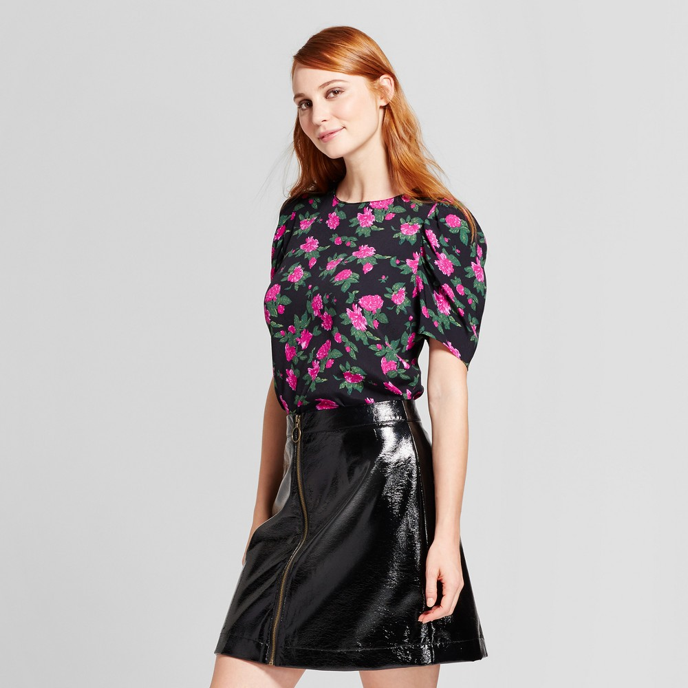 Womens Full Short Sleeve Blouse - Who What Wear Black Floral XS