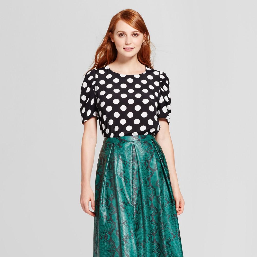 Womens Full Short Sleeve Blouse - Who What Wear Black Polka Dot XS