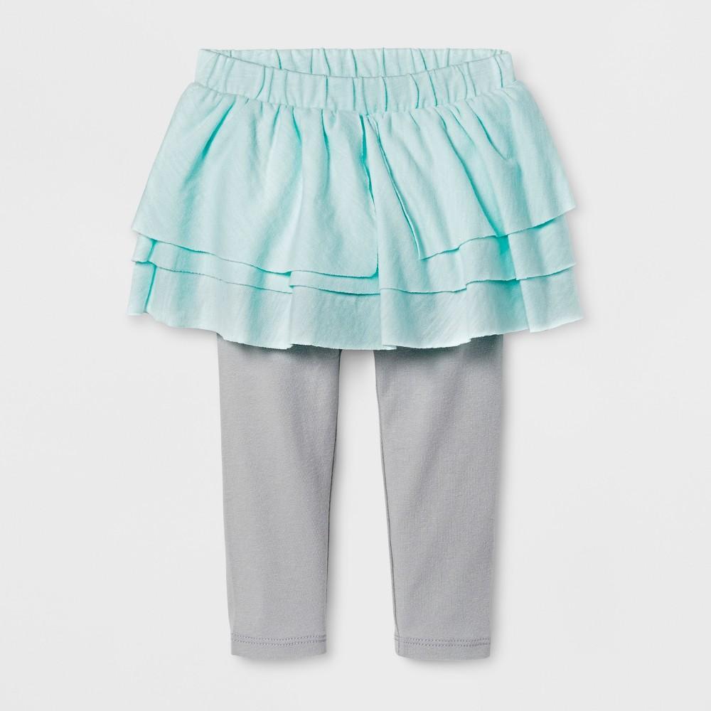 Toddler Girls Stars Print Skirted Leggings - Cat & Jack Bleached Aqua 3T, Green