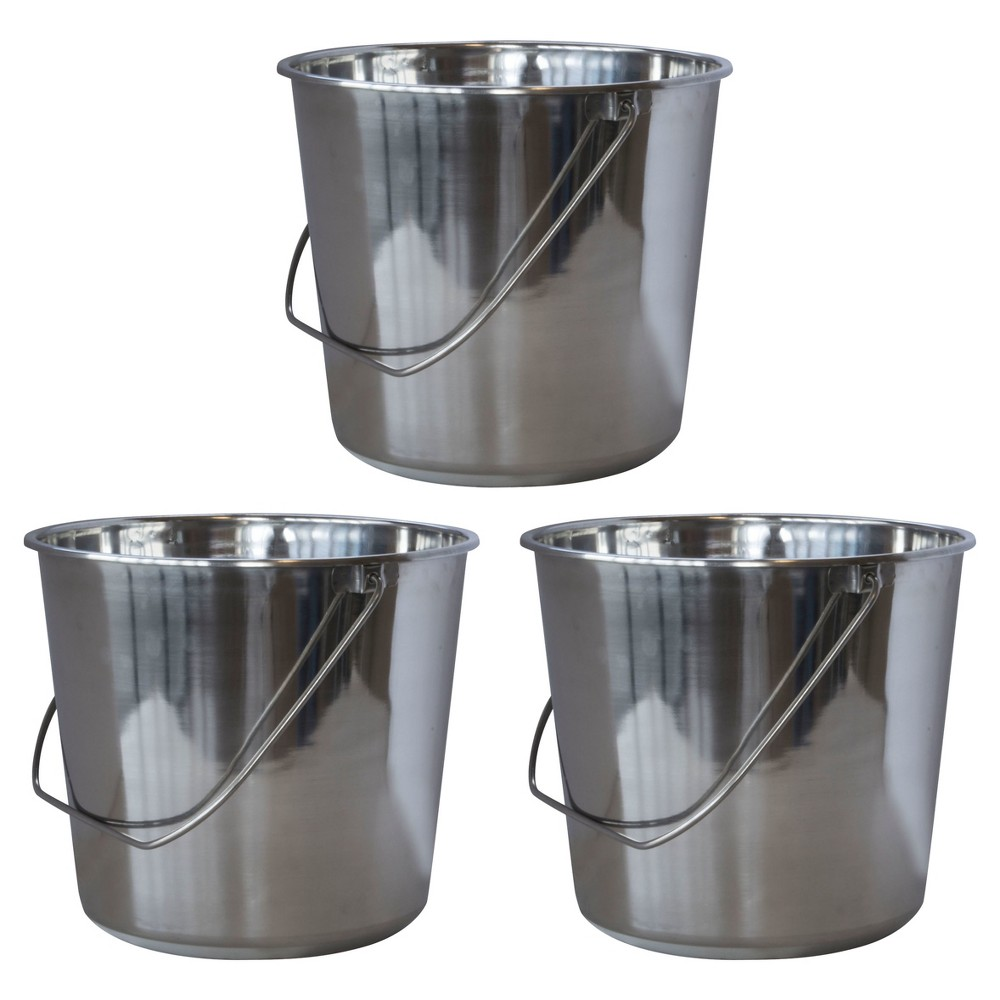 Image of 3pc Stainless Steel Bucket Set 9 Liters - Silver - AmeriHome