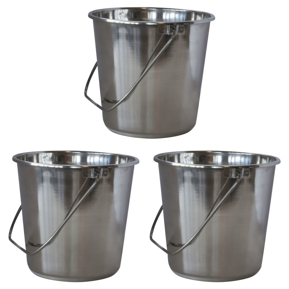 Image of 3pc Stainless Steel Bucket Set 20 Liters - Silver - AmeriHome
