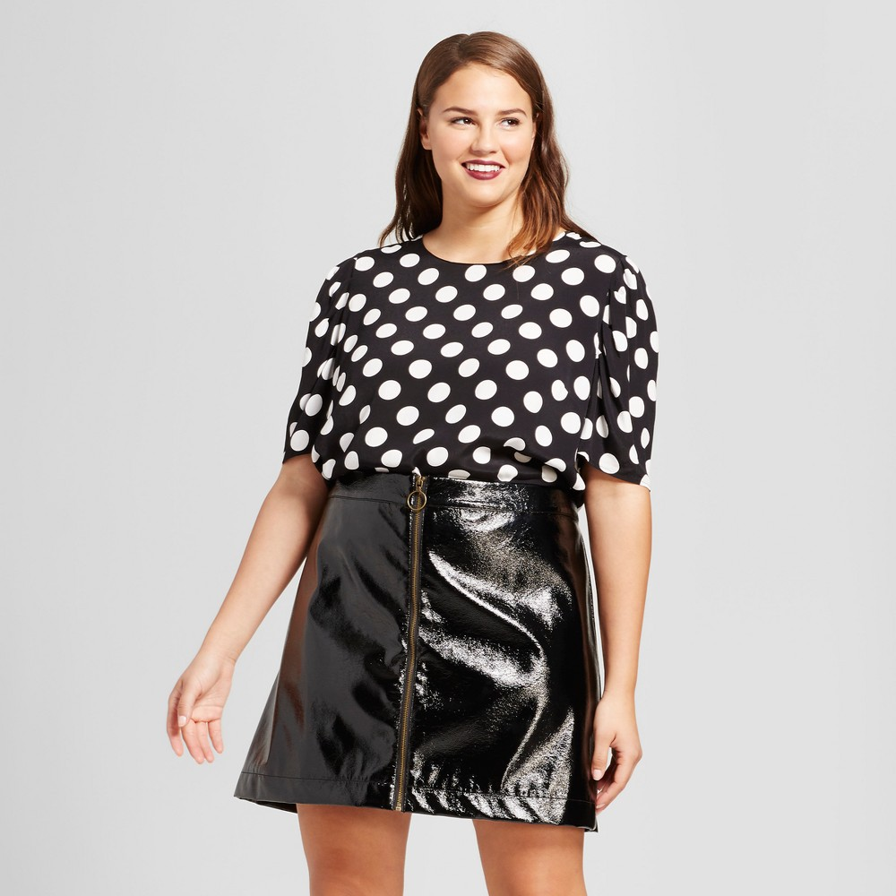 Womens Plus Size Full Short Sleeve Blouse - Who What Wear Black Polka Dot 3X