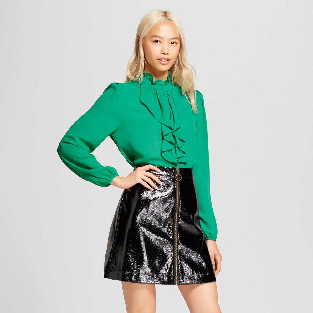 Womens Frilled Button-Up Blouse - Who What Wear Green XL