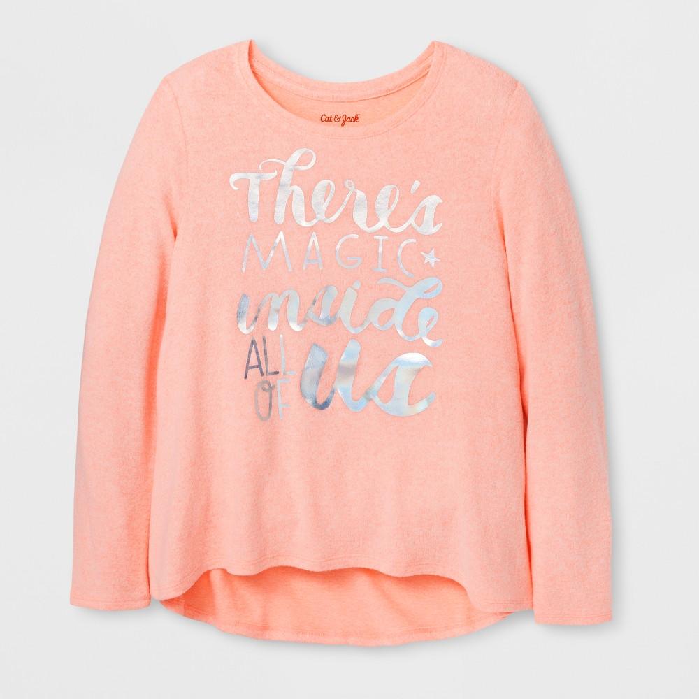 Girls Magic Cozy Pullover - Cat & Jack Peach L, Orange
