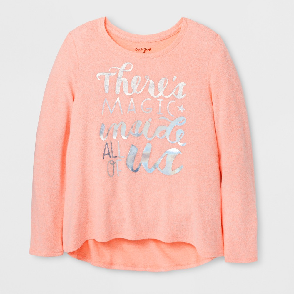 Girls Magic Cozy Pullover - Cat & Jack Peach XS, Orange