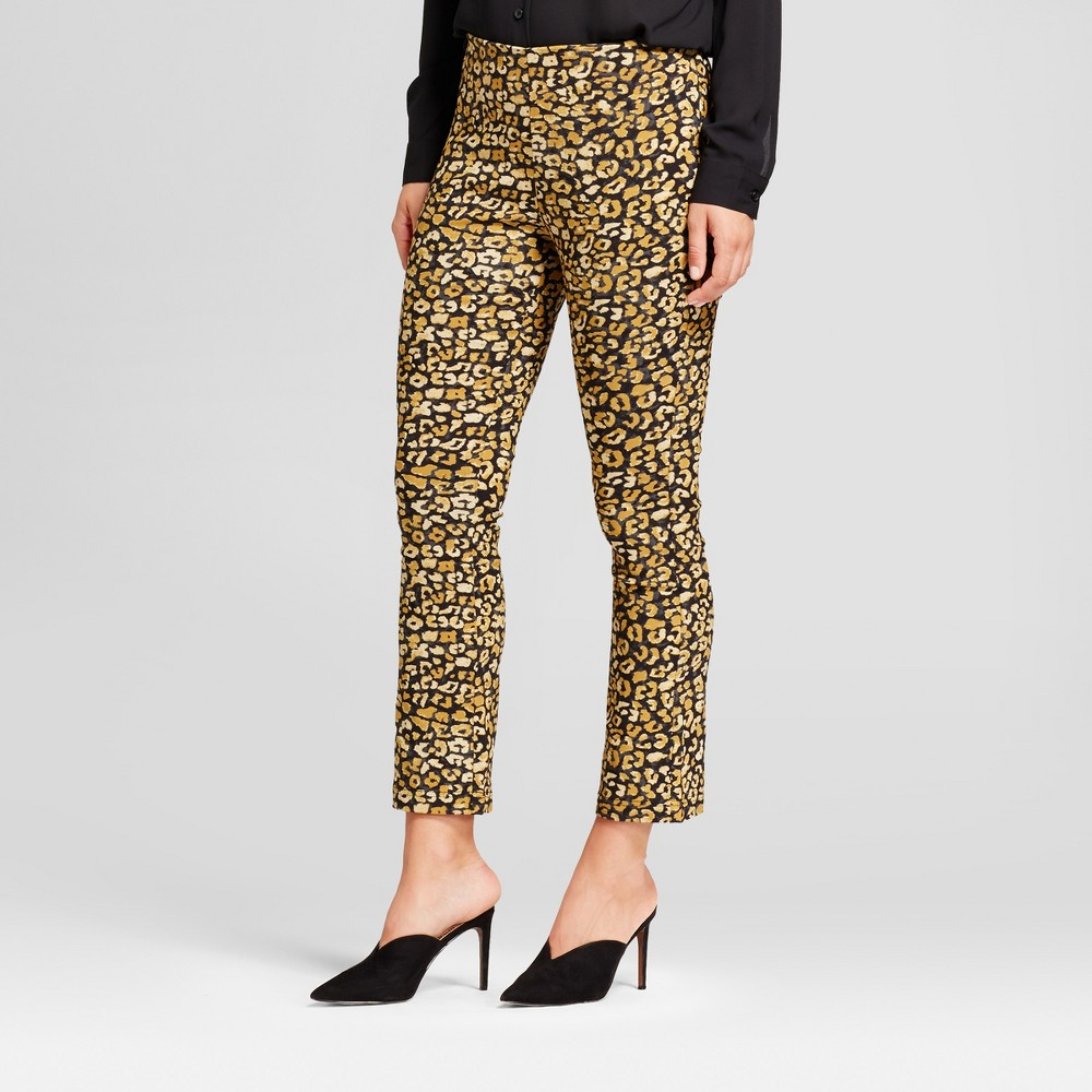 Womens Crop Flare Pants - Who What Wear Yellow Cheetah 4