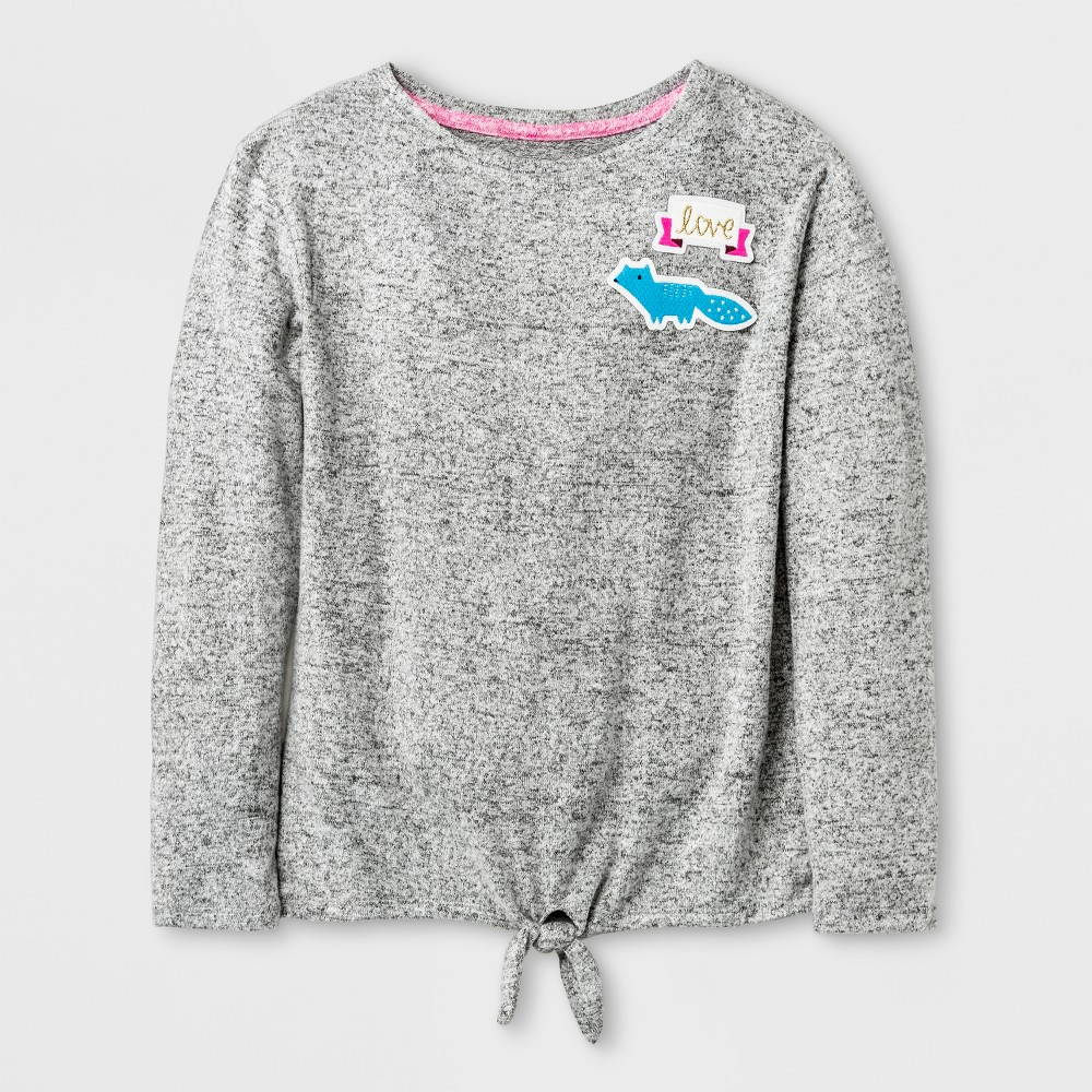 Girls Patches Cozy Pullover - Cat & Jack Heather Gray S