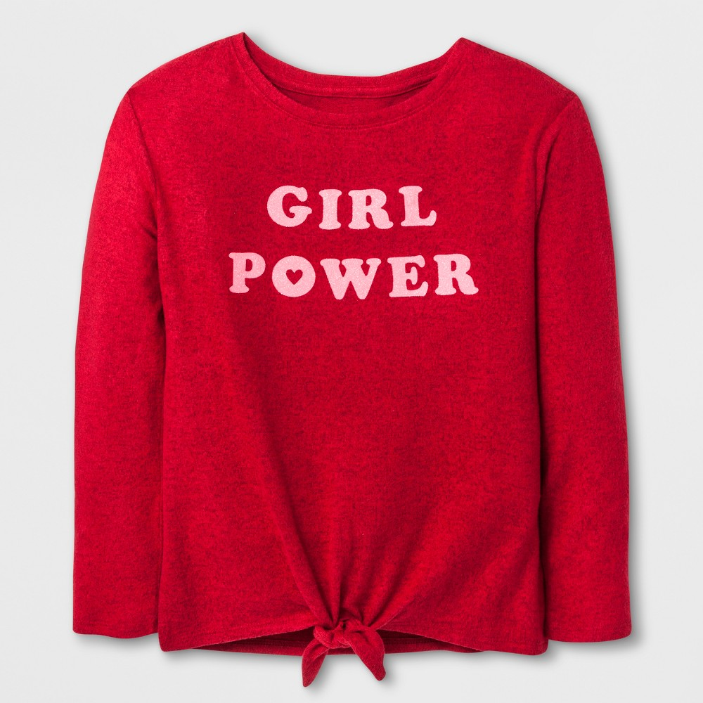 Girls Girl Power Cozy Pullover - Cat & Jack Red M