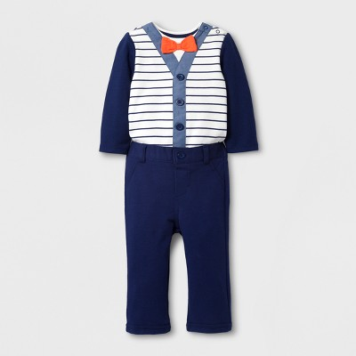 Baby Boys' 2pc Long Sleeve Bodysuit with a Bow Tie and Pants - Cat & Jack™ Nightfall Blue NB