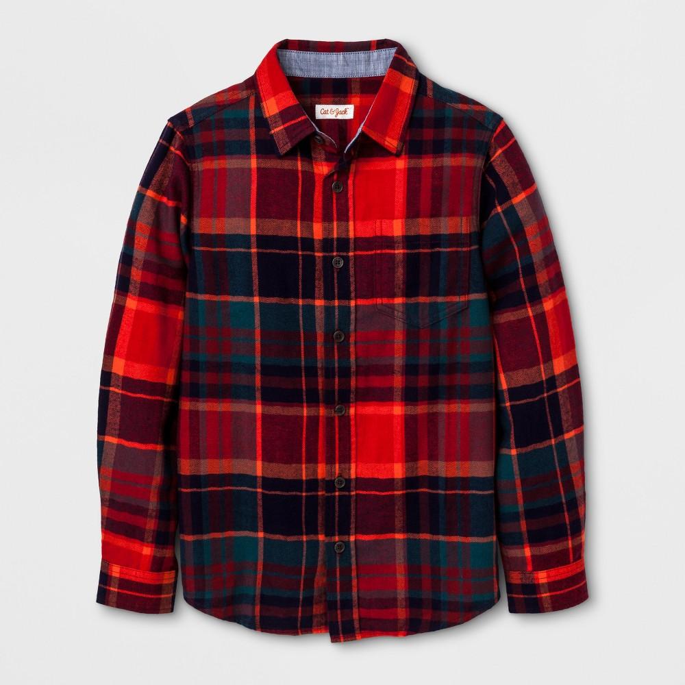 Boys Long Sleeve Button Down Shirt - Cat & Jack Red S, Orange