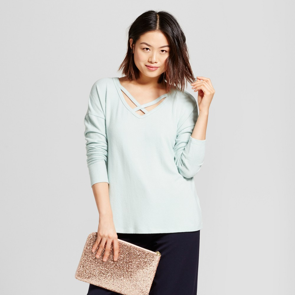 Womens Cozy Knit Long Sleeve Top - A New Day Mint (Green) XL