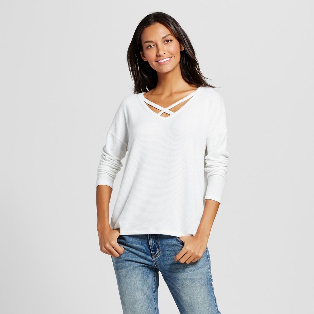 Womens Lurex Striped Cozy Knit Top - A New Day Cream Xxl, Beige