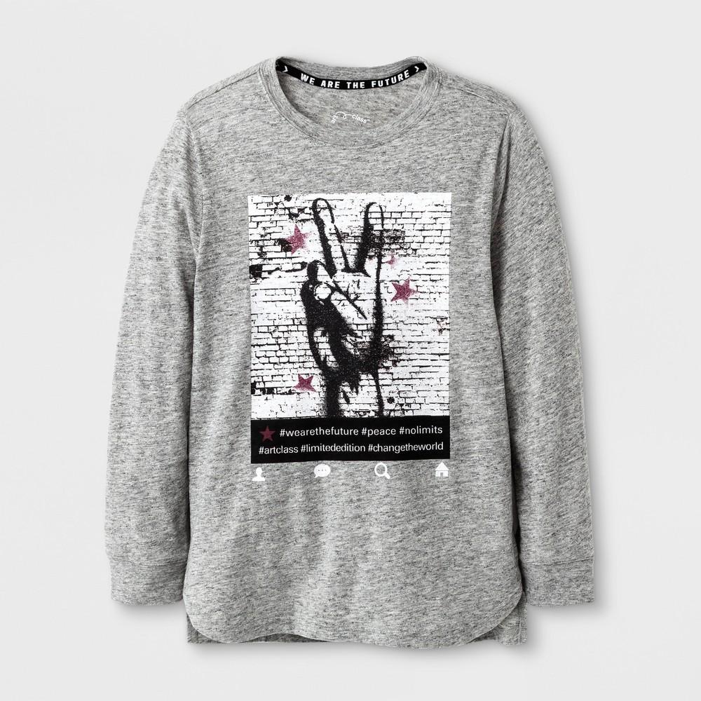 Boys Long Sleeve Peace T-shirt - Art Class Heather Gray S