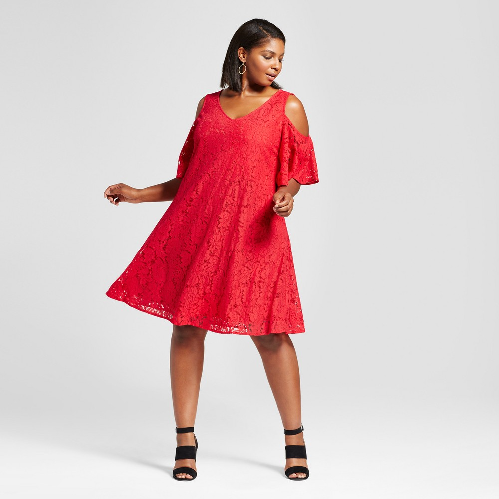 Womens Plus Size Lace Cold Shoulder Dress - Melonie T - Red 18W