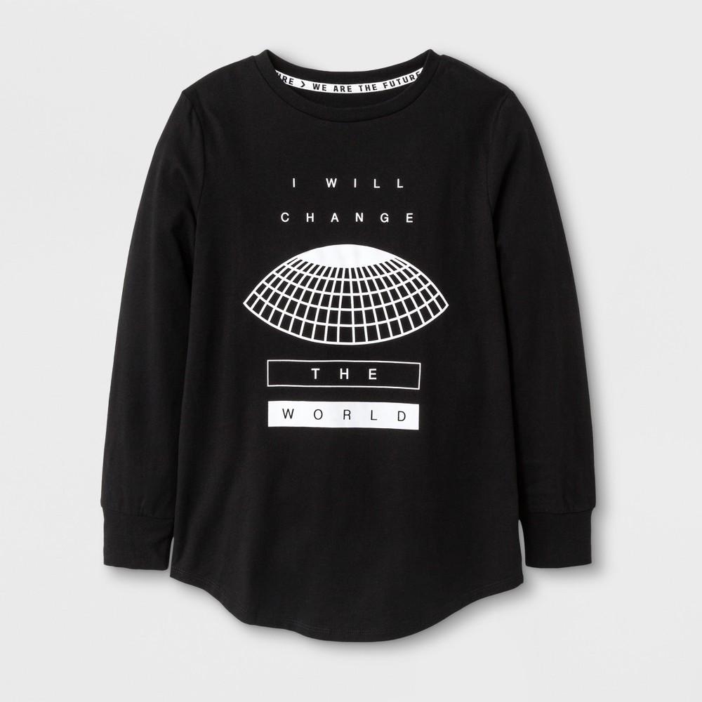 Boys Long Sleeve I Will Change the World T-shirt - Art Class Black XS