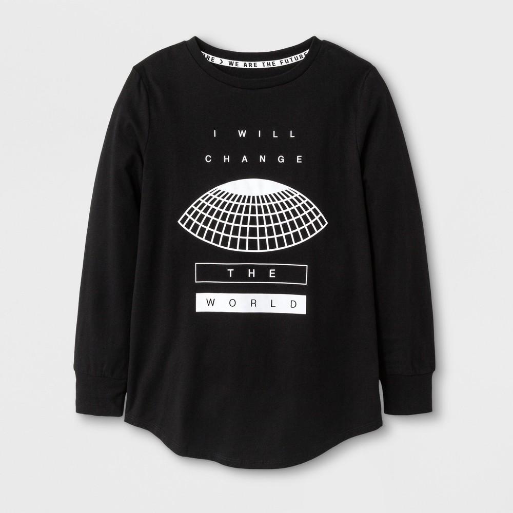 Boys Long Sleeve I Will Change the World T-shirt - Art Class Black M