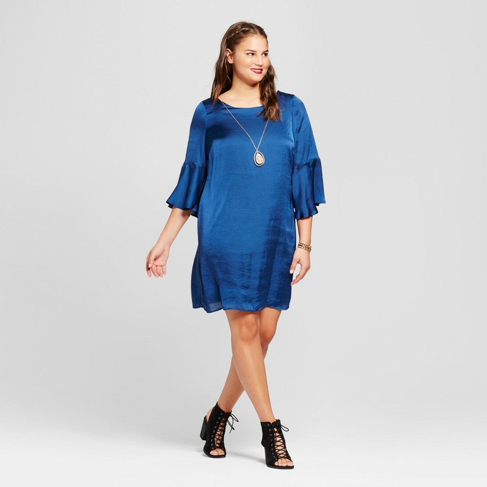 Womens Plus Size Bell-Sleeve Dress - Lily Star (Juniors) - Blue 1X