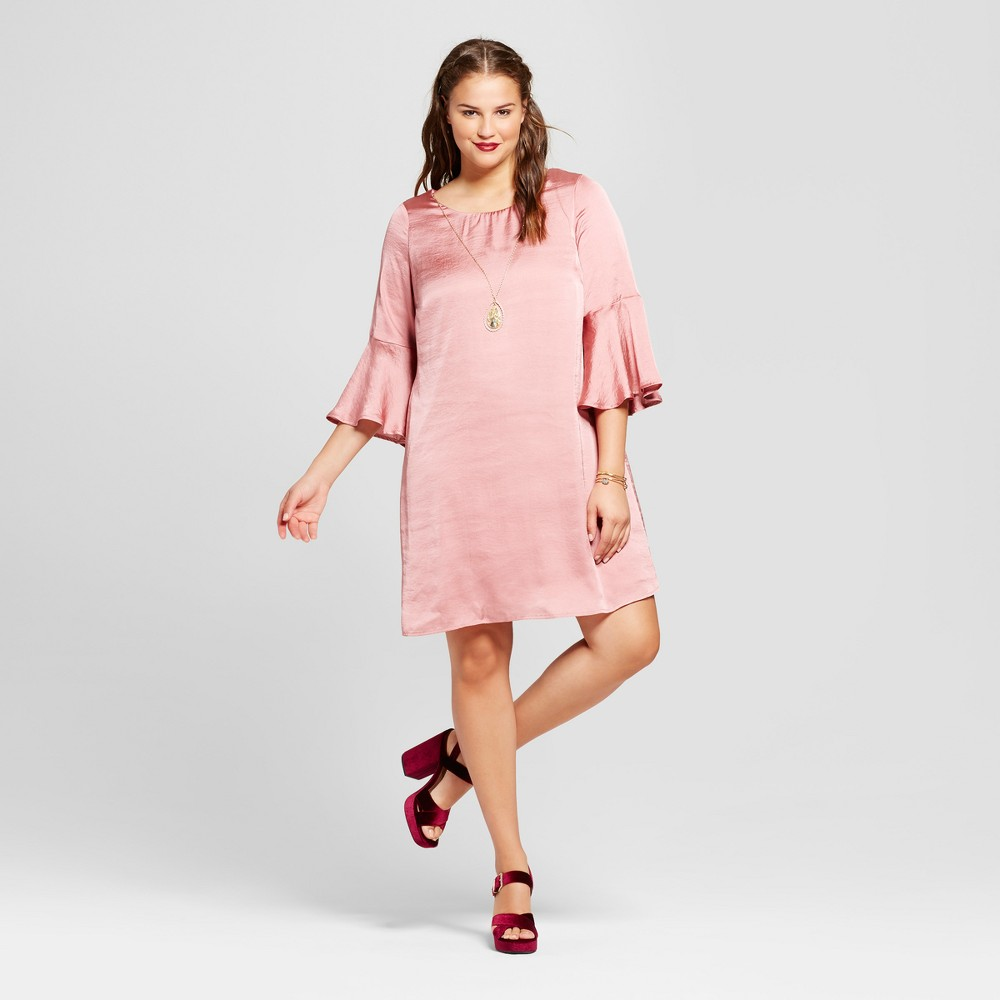 Womens Plus Size Bell-Sleeve Dress - Lily Star (Juniors) - Purple 2X