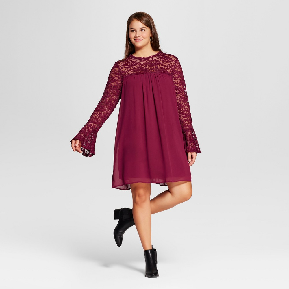 Womens Plus Size Lace Yoke Bell-Sleeve Dress - Lily Star (Juniors) - Red 3X