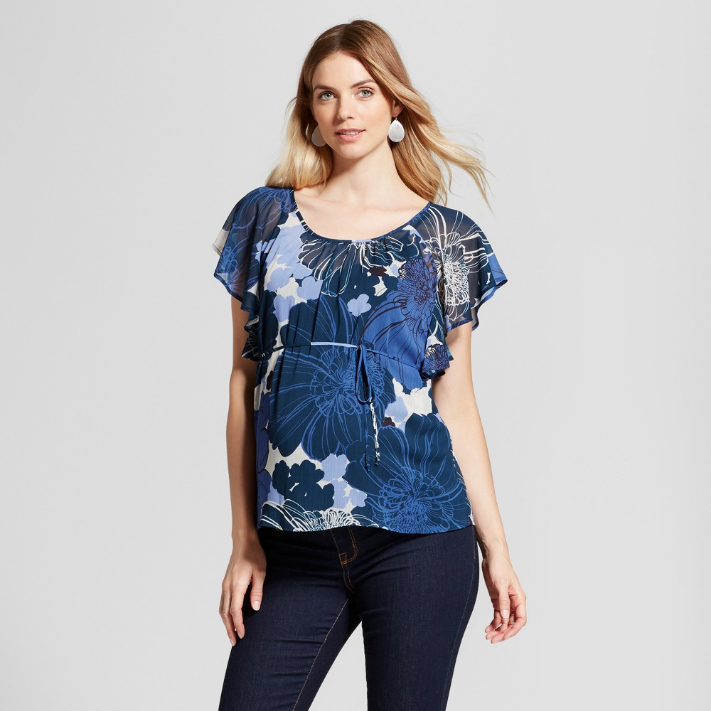 Maternity Floral Tie Waist Top Navy L - Fynn And Rose, Infant Girl's, Blue