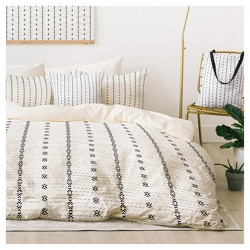 Gray Holli Zollinger French Linen Tribal Stripe Duvet Cover Set  - Deny Designs®