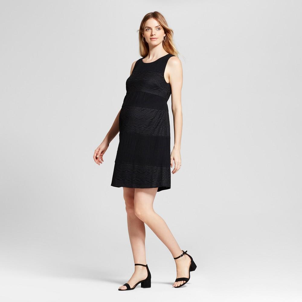 Maternity Lace Blocked Shift Dress - Fynn & Rose Black L, Womens