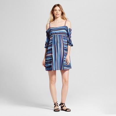 Maternity Striped Print Cold Shoulder Dress - Fynn & Rose Navy XL