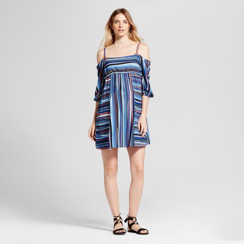 Maternity Striped Print Cold Shoulder Dress - Fynn & Rose Navy XL, Infant Girls, Blue