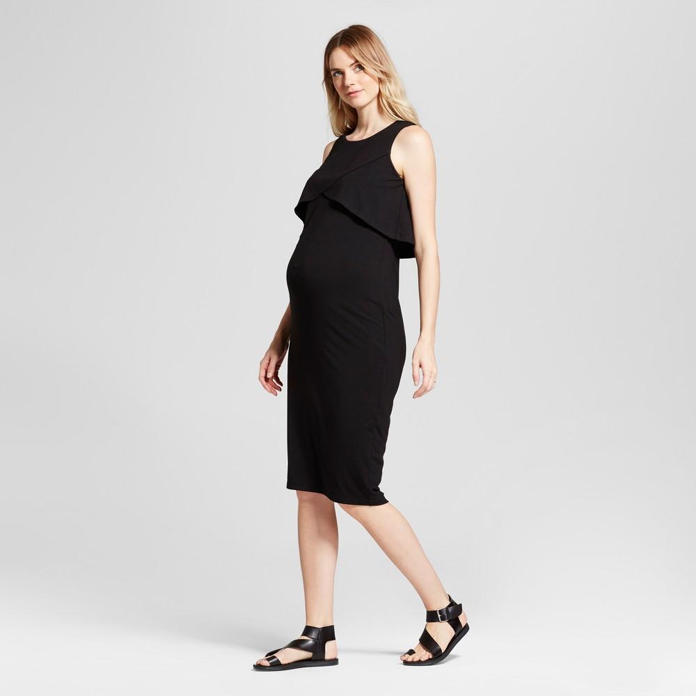 Maternity Criss-Cross Overlay Fitted Dress - Fynn & Rose Black M, Infant Girls