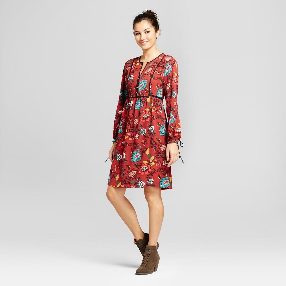Womens Floral Printed Woven Peasant Dress - JohnPaulRichard Burnt Rust S, Orange