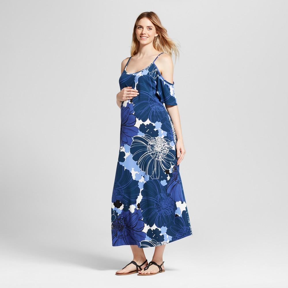 Maternity Cold Shoulder Maxi Dress - Fynn & Rose Navy XL, Infant Girls, Blue