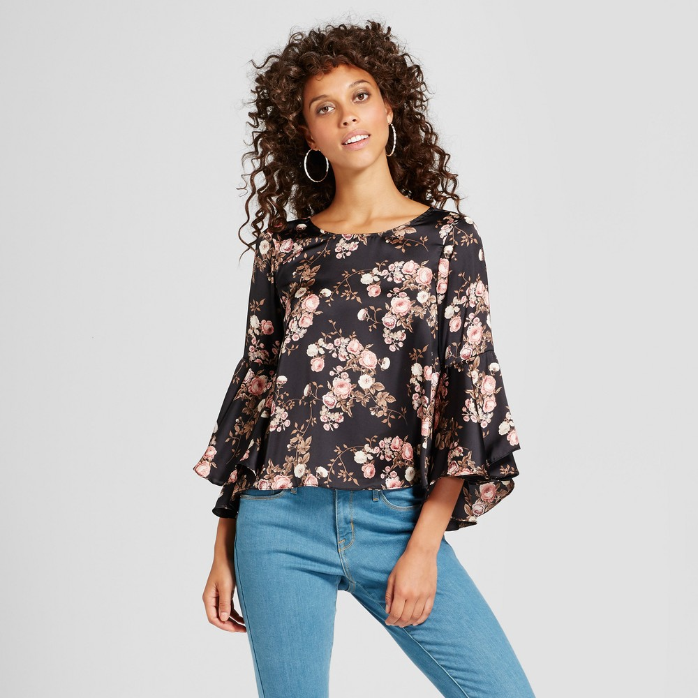 Womens Floral Bell Sleeve Top - Soul Cake (Juniors) Black L
