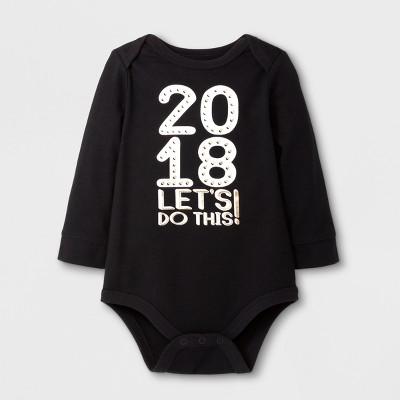 Baby Boys' '2018 LET'S DO THIS!' Long Sleeve Bodysuit - Cat & Jack™ Black 0-3M