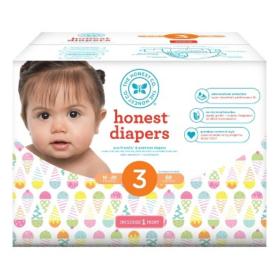 Honest Company Diapers Club Pack, Rainbow Sherbet - Size 3 (68ct)