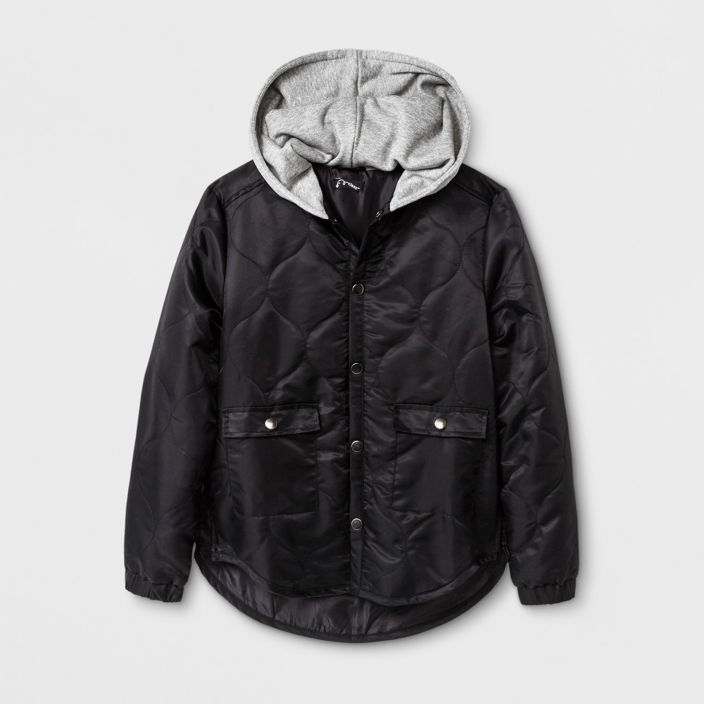 Boys Quilted Hooded Jacket - Art Class Black M