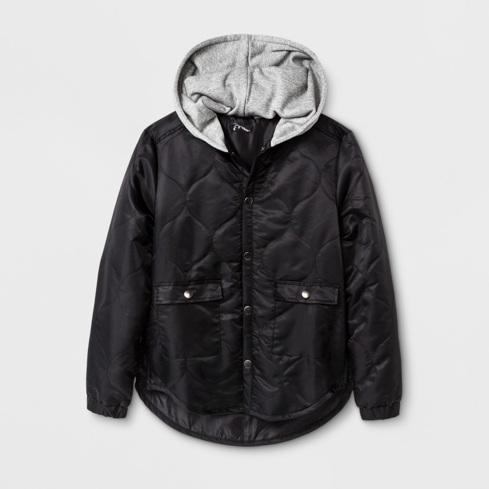 Boys Quilted Hooded Jacket - Art Class Black XS
