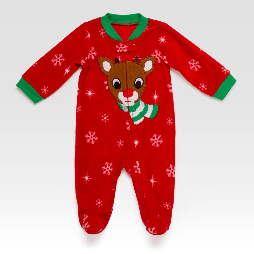 Baby Girls Rudolph Snowflakes Snap N Play - Red 3M, Size: 3 M