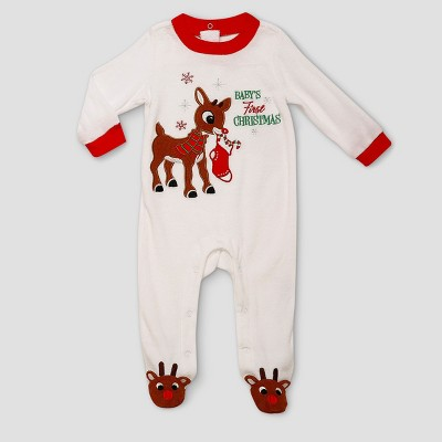 Baby Girls' Rudolph the Red-Nosed Reindeer Baby's First Christmas Velour Snap N Play - White 9M