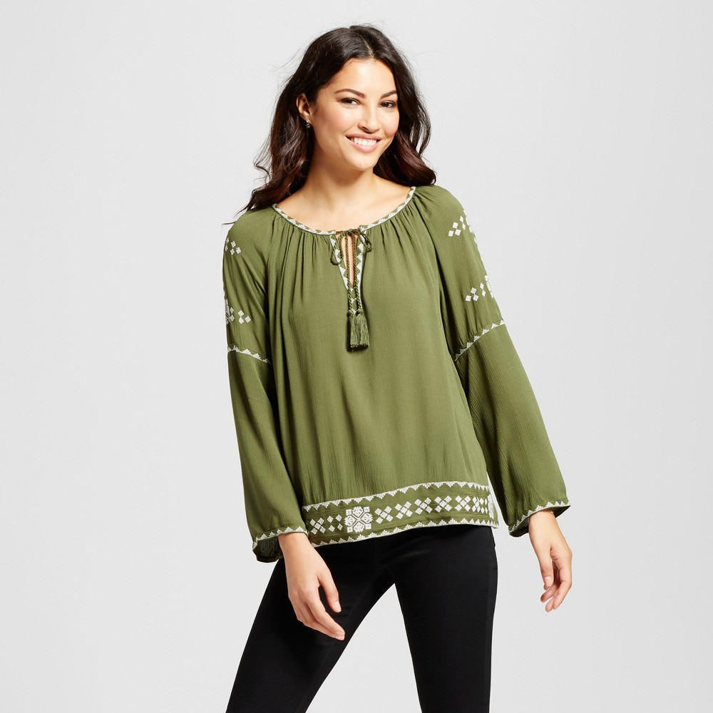 Womens Peasant Blouse with Contrast Embroidery - JohnPaulRichard Olive/Ivory XL, Green