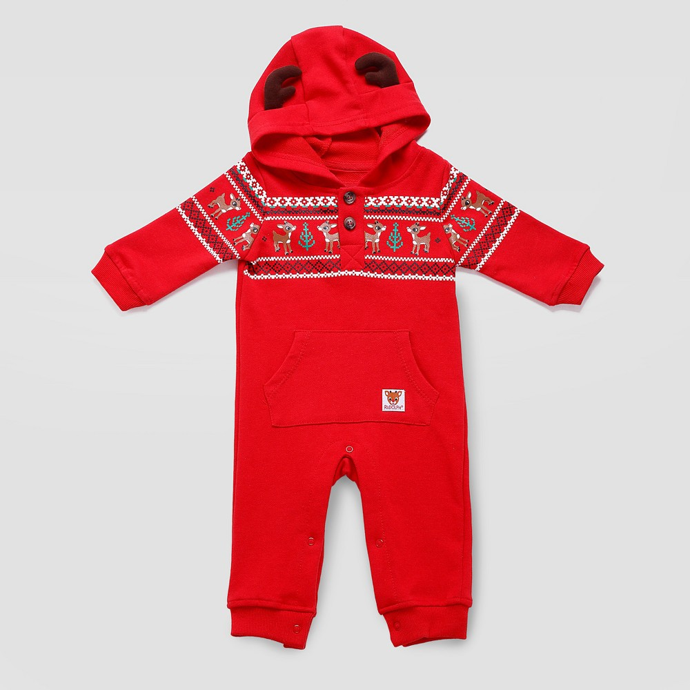 Rudolph Baby Fair Isle Hooded Coverall - Red 3M, Infant Unisex, Size: 3 M