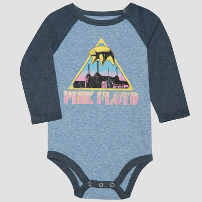 Pink Floyd Baby Boy Long Sleeve Bodysuit - Gray/Blue NB