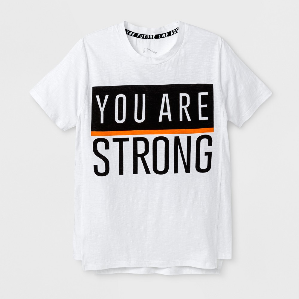 Boys Short Sleeve You Are Strong T-shirt - Art Class White M