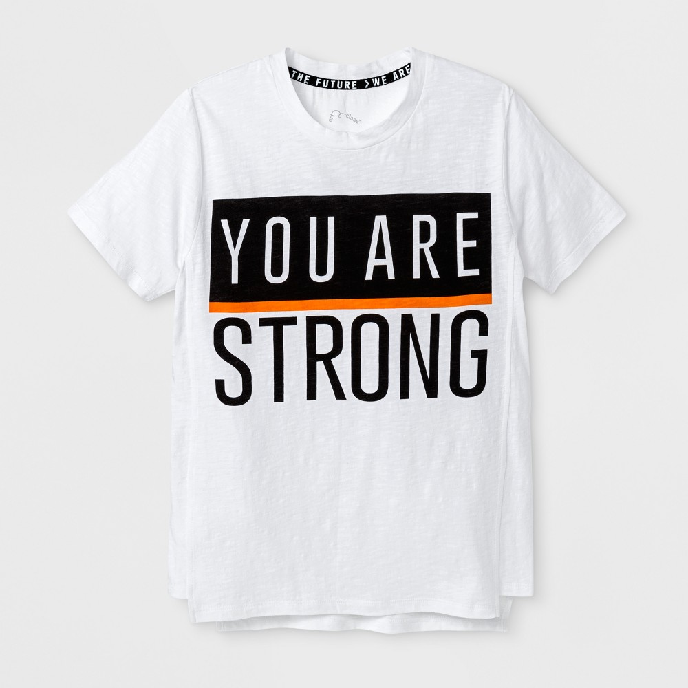 Boys Short Sleeve You Are Strong T-shirt - Art Class White XS