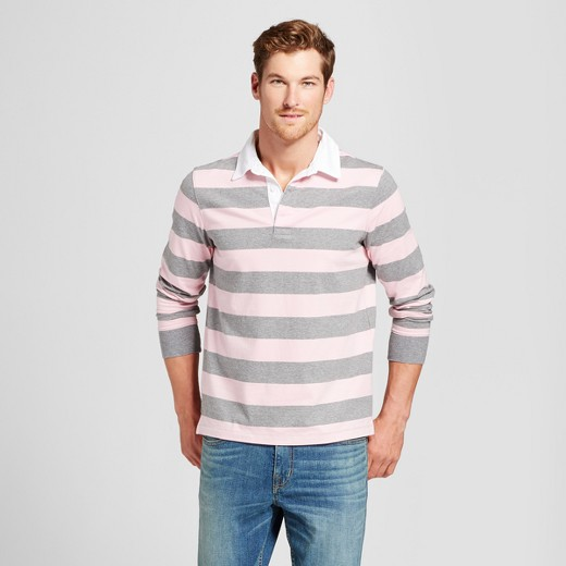 Men's Long Sleeve Striped Rugby Polo Shirt - Goodfellow & Co™ Pink ...