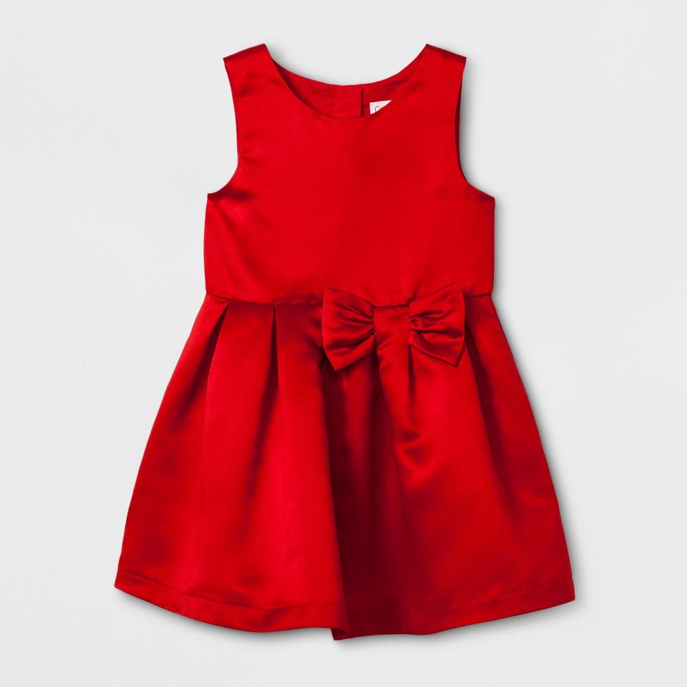 Toddler Girls A Line Dress - Cat & Jack Red Satin 5T